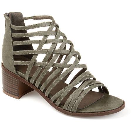 Journee Collection Womens Diya Pumps Block Heel, 7 1/2 Medium, Gray