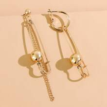 Round Ball Safety Pin Decor Drop Earrings