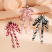 3pcs Faux Pearl Decor Houndstooth Pattern Brooch