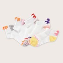 5 Paare Maedchen Farbblock Socken