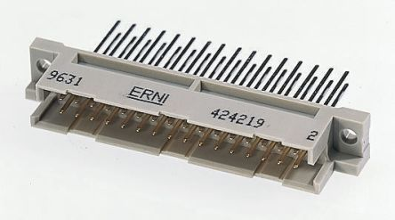 ERNI 48 Way 2.54mm Pitch, Type R/2 Class C2, 3 Row, Right Angle DIN 41612 Connector, Socket