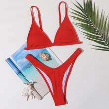 Dreieckiger gerippter Bikini Badeanzug mit hohem Ausschnitt
