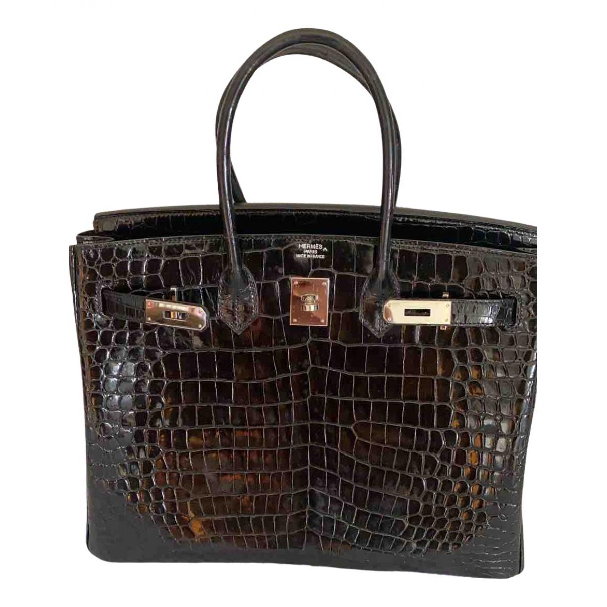 Herm�s Birkin 35 Black Crocodile handbag for Women \N