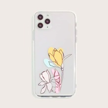 Flower Print Transparent iPhone Case
