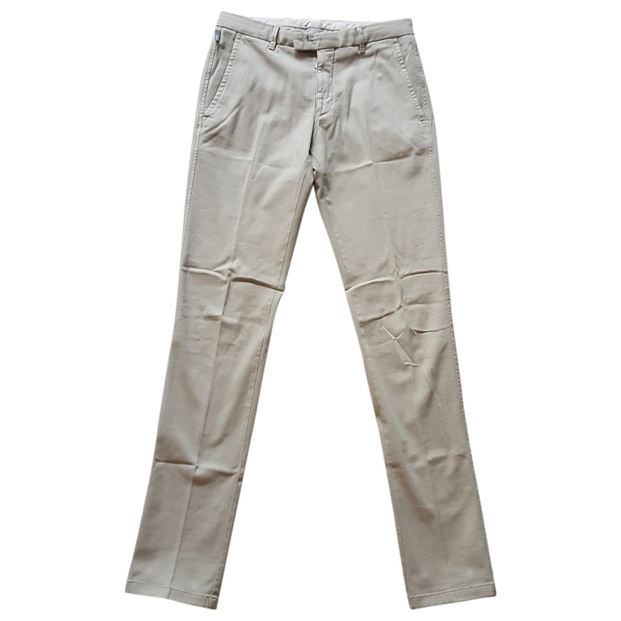 Pantalones en Algodon Beige Armani Collezioni