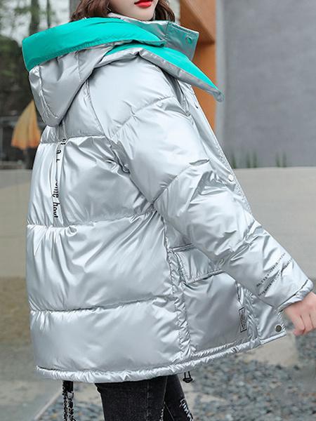 Milanoo Abrigos acolchados morados Abrigo de invierno de manga larga con capucha con cremallera