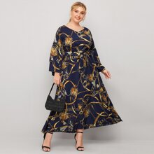 Plus Chain Print Belted Dress