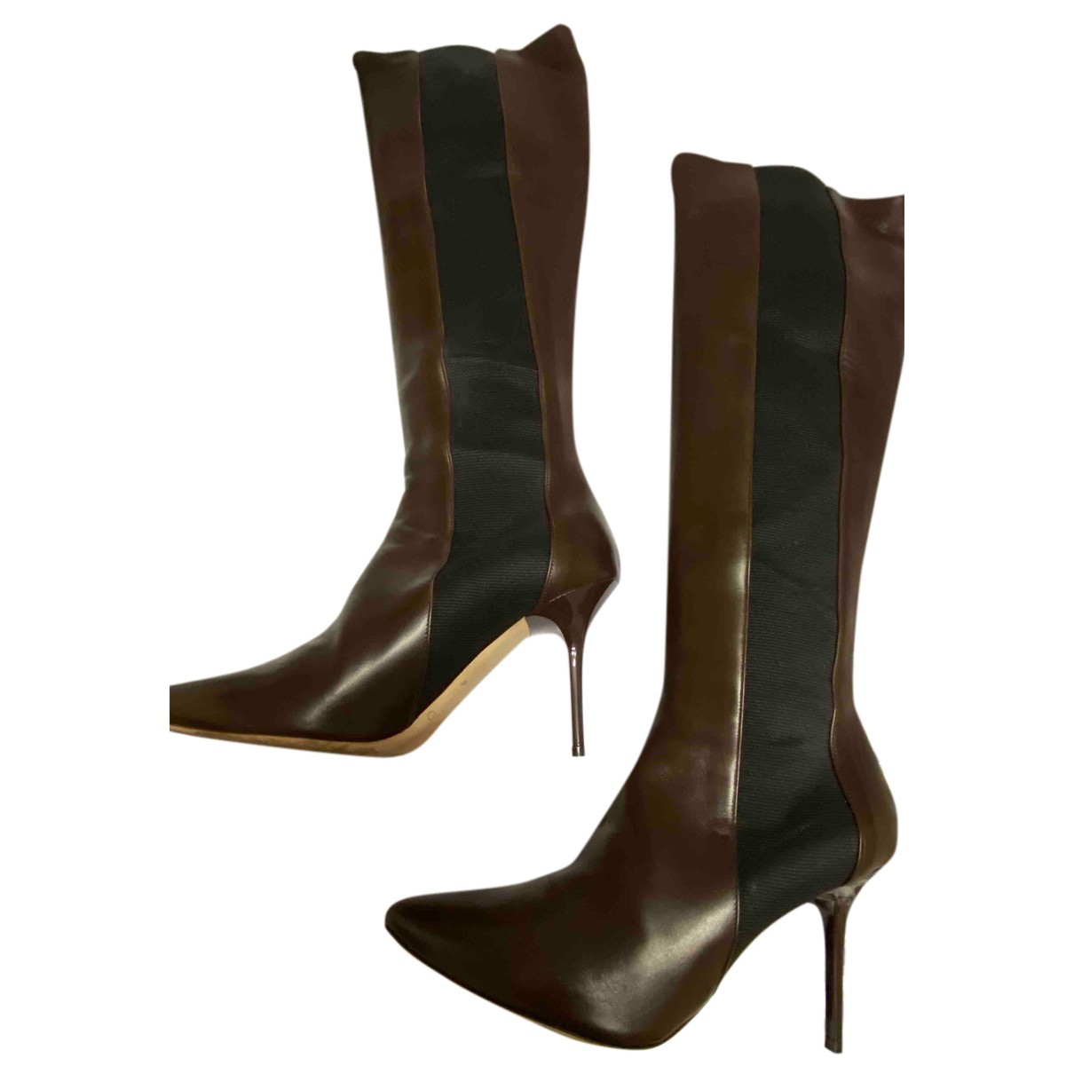 Jimmy Choo N Brown Leather Boots for Women 39 IT
