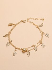 Leaf & Ball Chain Anklet