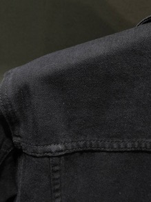 Guys Single Breasted Flap Pocket Denim Jacket