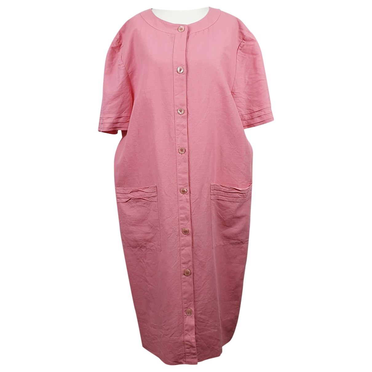 Non Signé / Unsigned Oversize Pink Linen dress for Women One Size FR