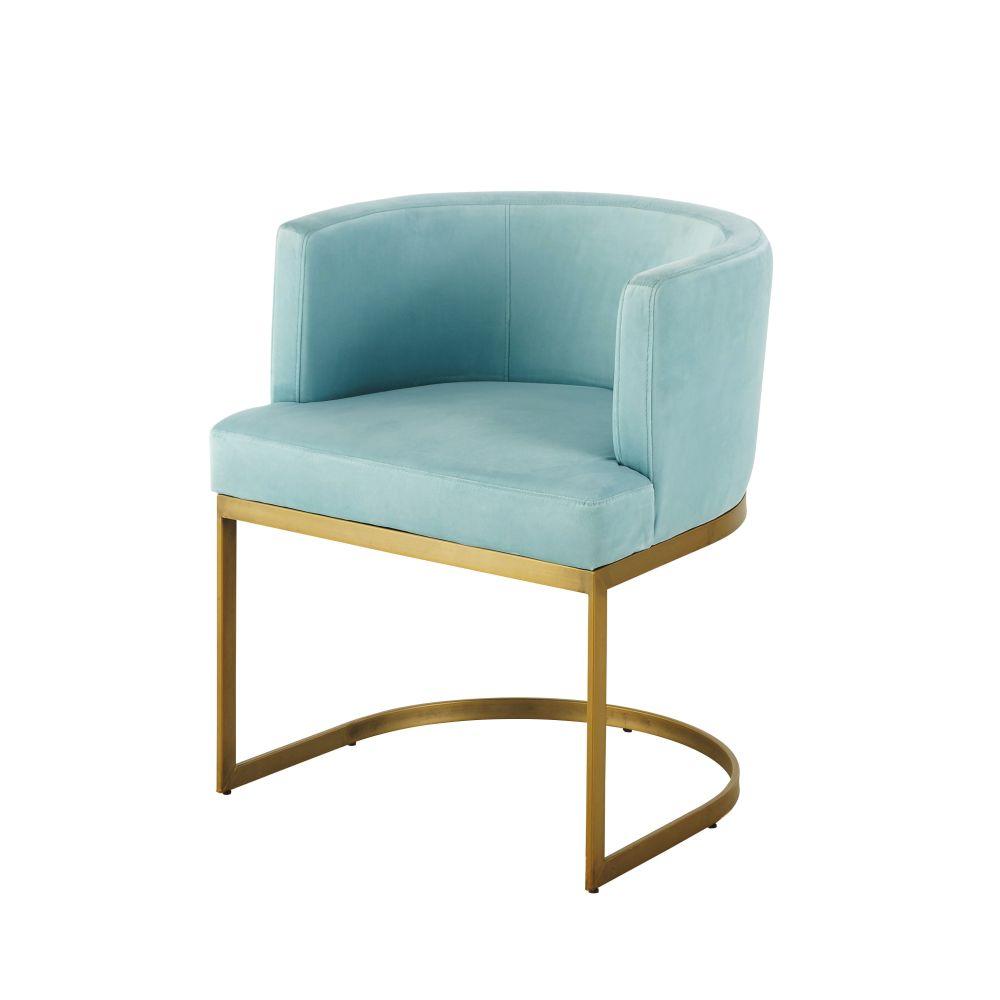 Vintage-Sessel mit Samtbezug, tuerkisblau Requiem