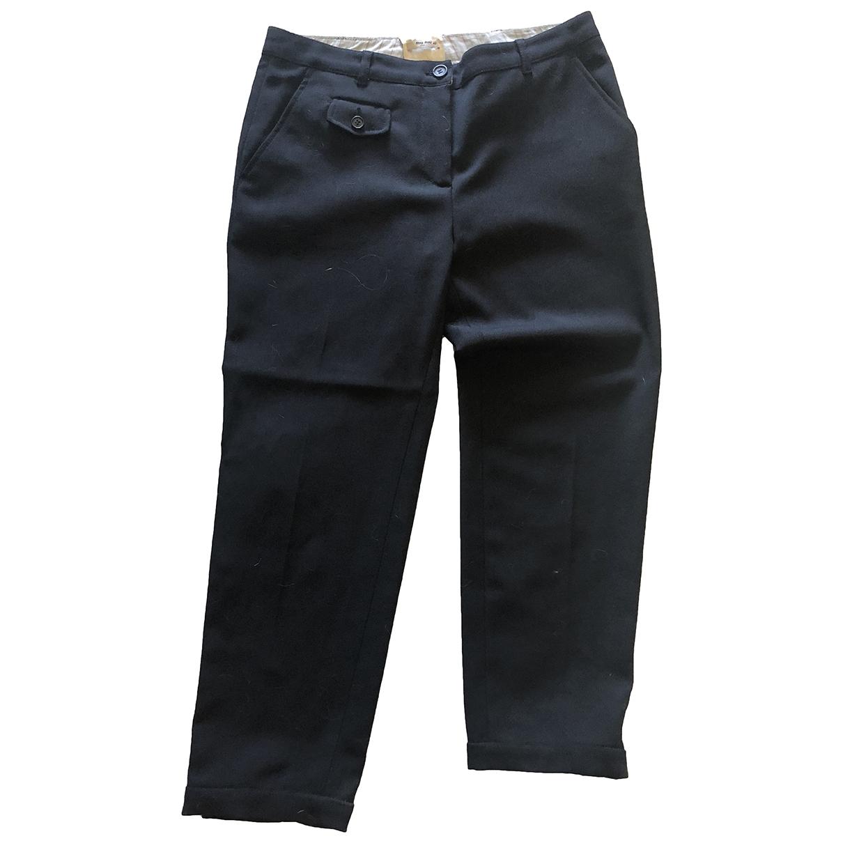 Miu Miu \N Black Wool Trousers for Women 42 IT