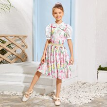 Girls Floral Print Bow Detail Frill Trim Top & Flared Skirt Set