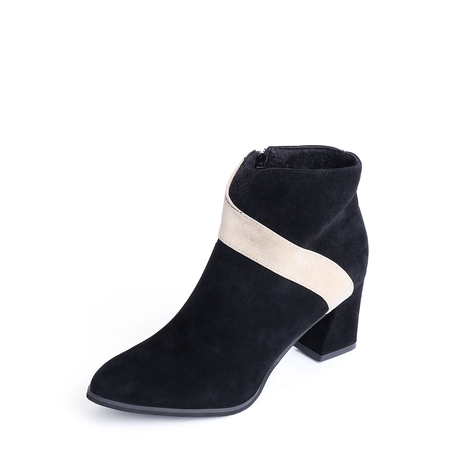 Yoins Black Stitching Side Zip Design Ankle Boots