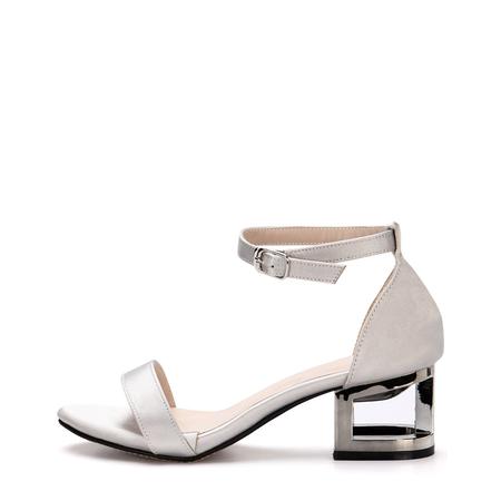 Yoins Grey Hollow Metallic Block Heel Single Strap Front Sandals