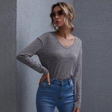 Camiseta tejida de canale de hombros caidos