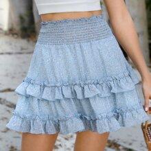 Shirred Waist Layered Ruffle Leaf Print Skirt