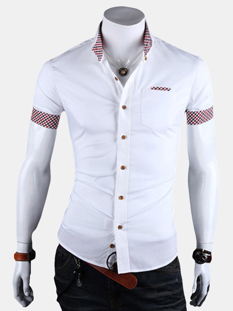 Stylish Slim Fit Patchwork Solid Color Plaid Short Sleeve Dress Shirts For Men