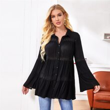 Bell Sleeve Lace Insert Tiered Blouse