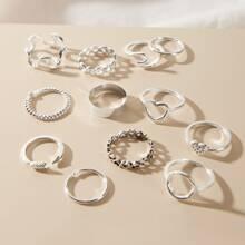12 Stuecke Geometric & Heart Decor Ring