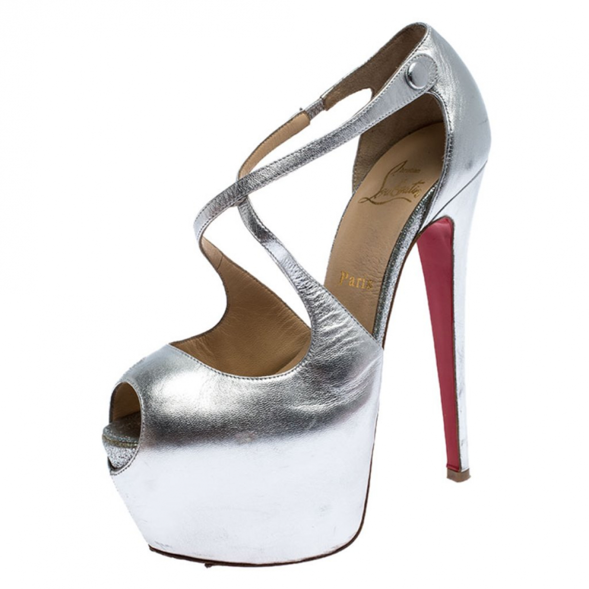 Christian Louboutin N Silver Leather Sandals for Women 6.5 US