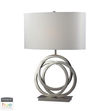 D2058-HUE-B Trinity Table Lamp  In Polished Nickel With Pure White Shade - With Philips Hue LED