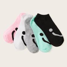 Smile Pattern Ankle Socks 5pairs