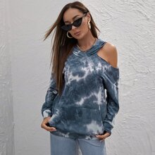 Cut Out Shoulder Pouch Pocket Tie Dye Hoodie
