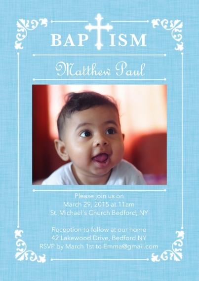Christening + Baptism 5x7 Cards, Standard Cardstock 85lb, Card & Stationery -Baptism Ornate Frame