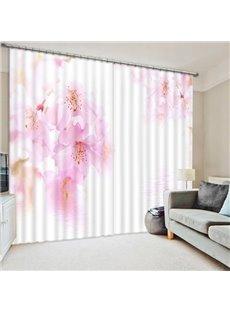 Bright Pink Peach Blossom Print 3D Blackout Curtain