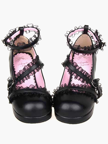Milanoo Matte Black Lolita Chunky Heels Shoes Lace Trim Ankle Straps Buckles