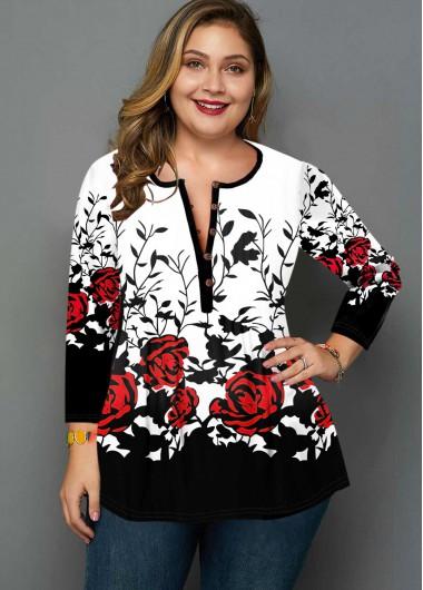Button Detail Plus Size Rose Print T Shirt - 2X