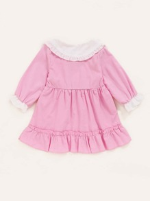 Baby Girl Peter Pan Collar Bow Front Ruffle Hem Smock Dress