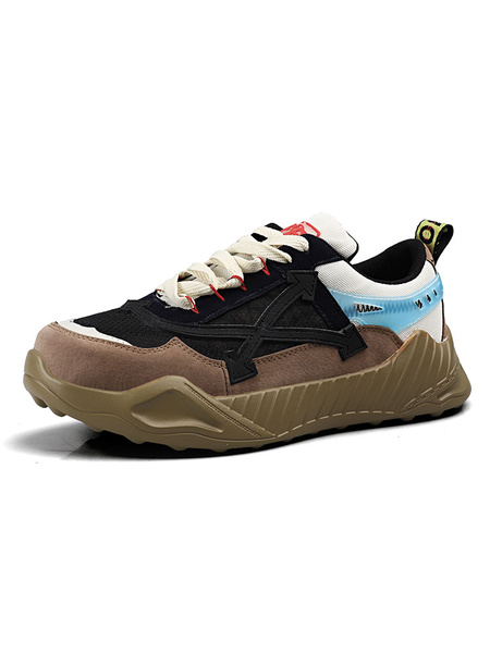 Milanoo Mens Sneakers 2020 Fashion ColorBlock Mesh Round Toe Lace Up Sport Shoes