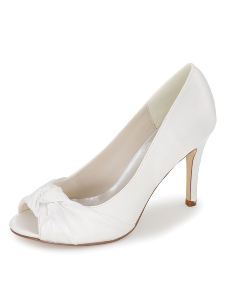 Milanoo Peep Wedding Shoes Twisted Detail Satin High Heel Bridal Shoes