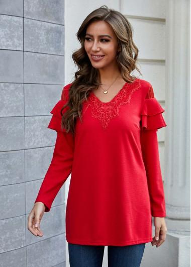 Flounce Long Sleeve Lace Stitching T Shirt - L