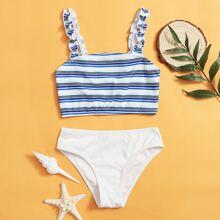 Gerippter Bikini Badeanzug mit Streifen und Rueschenbesatz