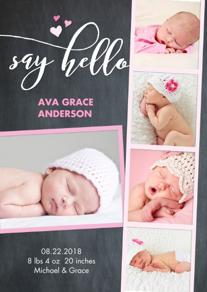 Baby Girl Announcements 5x7 Cards, Premium Cardstock 120lb with Rounded Corners, Card & Stationery -Baby Chalk Pink
