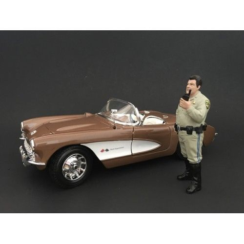 Highway Patrol Officer Talking on the Radio Figurine / Figure For 124 Models by American Diorama