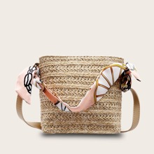 Twilly Scarf Design Handle Woven Satchel Bag