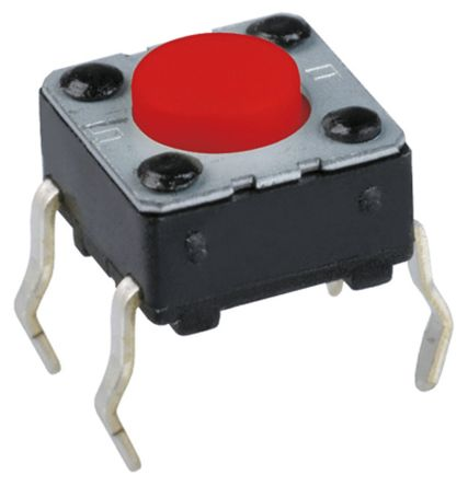 Panasonic Red Button Tactile Switch, Single Pole Single Throw (SPST) 20 mA @ 15 V dc 1.6mm (100)