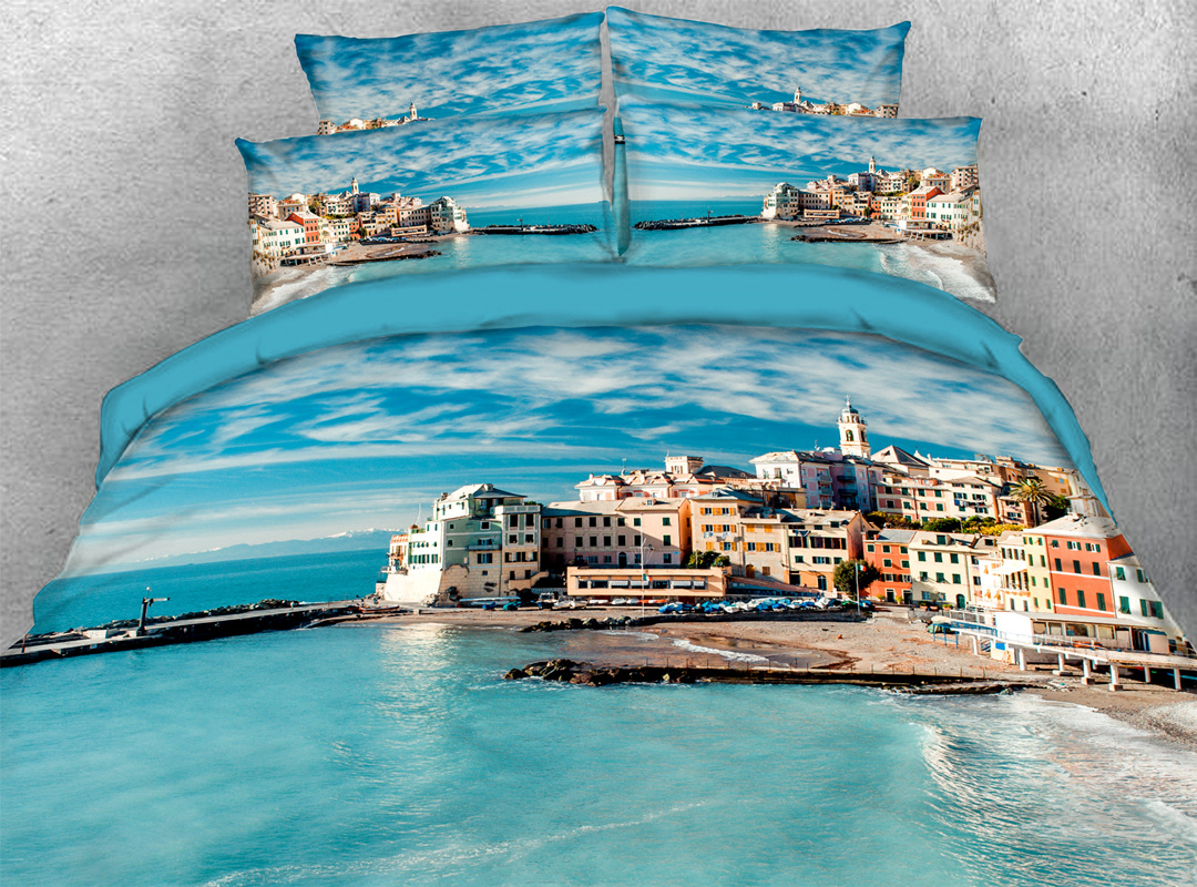 3D Coastal Town 4-piece No-fading Soft Bedding Sets Durable Scenery Zipper Duvet Cover with Non-slip Ties
