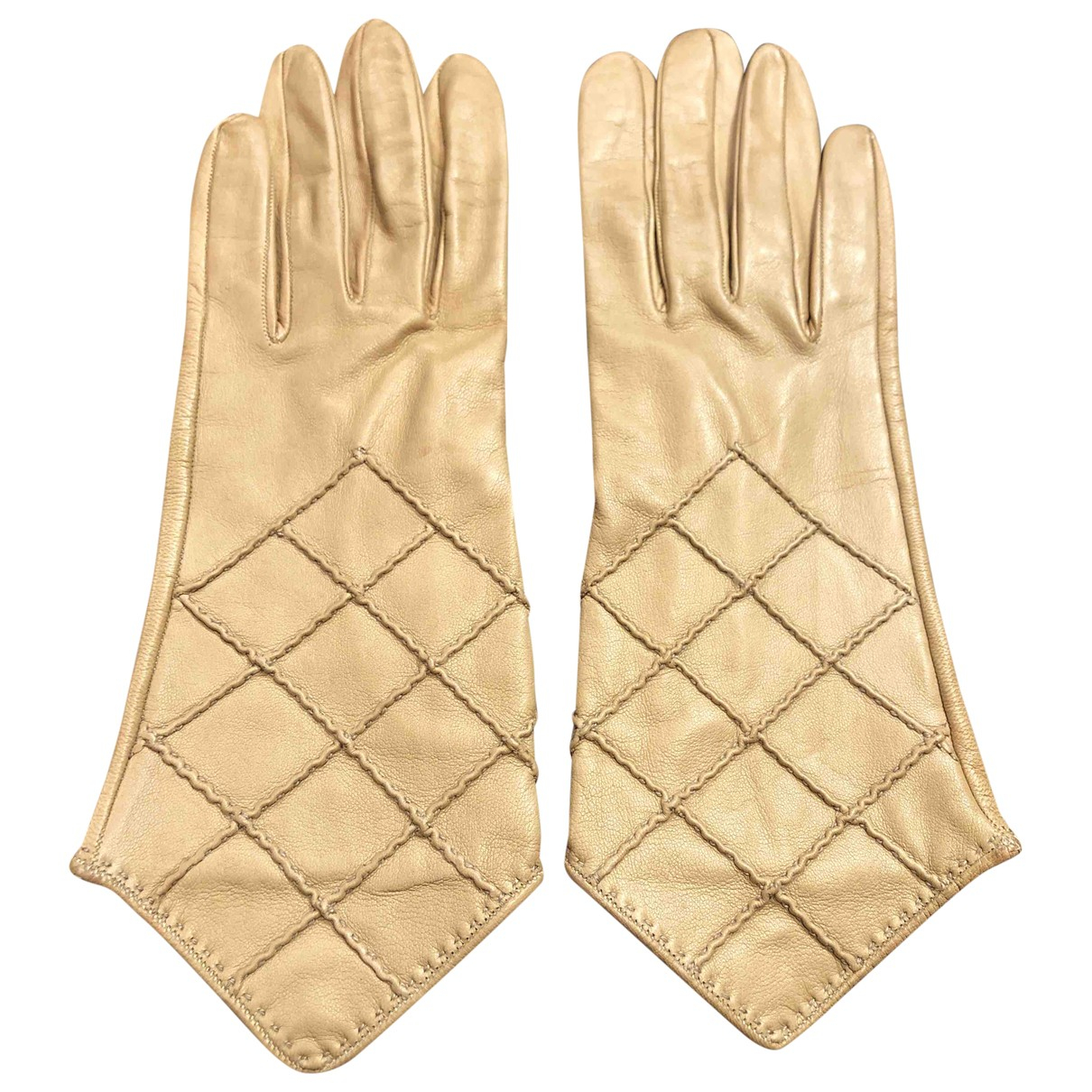 Chanel \N Beige Leather Gloves for Women 7 Inches