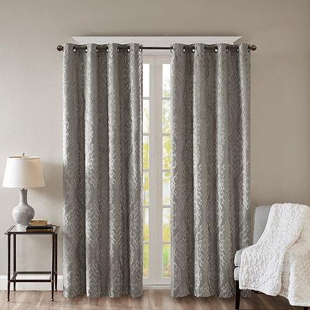 Sunsmart Elysia Knitted Jacquard Damask Energy Saving 100% Blackout Grommet-Top Single Curtain Panel, One Size , Black