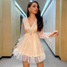 Double Crazy vestido de malla de lunares ribete con fruncido