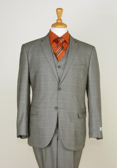 Mens 3 Piece Slim Cut Suit Checkered Fabric and Adjustable Waist Beige