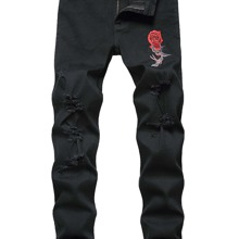 Men Ripped Floral Embroidery Jeans