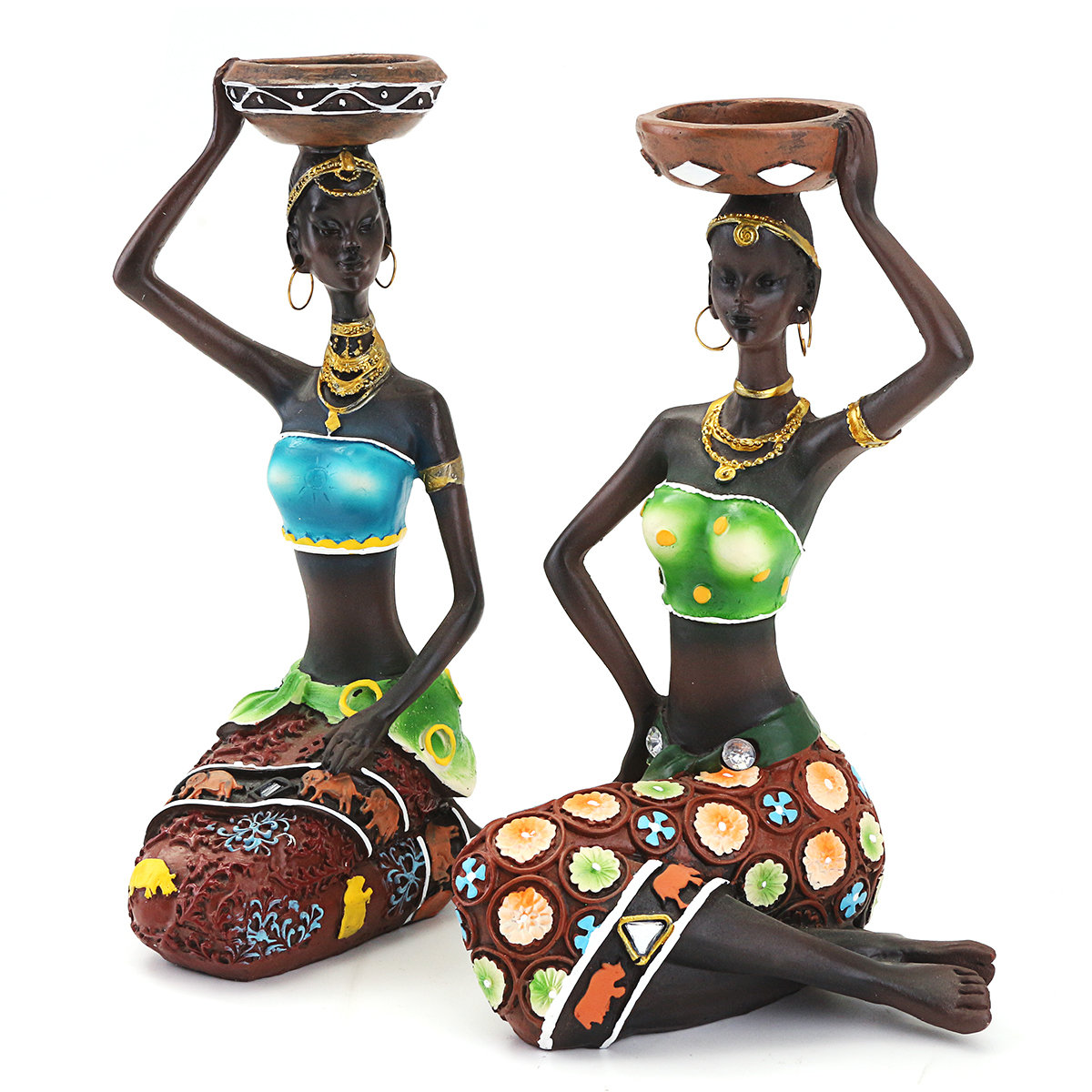 2pcs/lot African Woman Ornaments Home Decoration Accessories Craft Statue