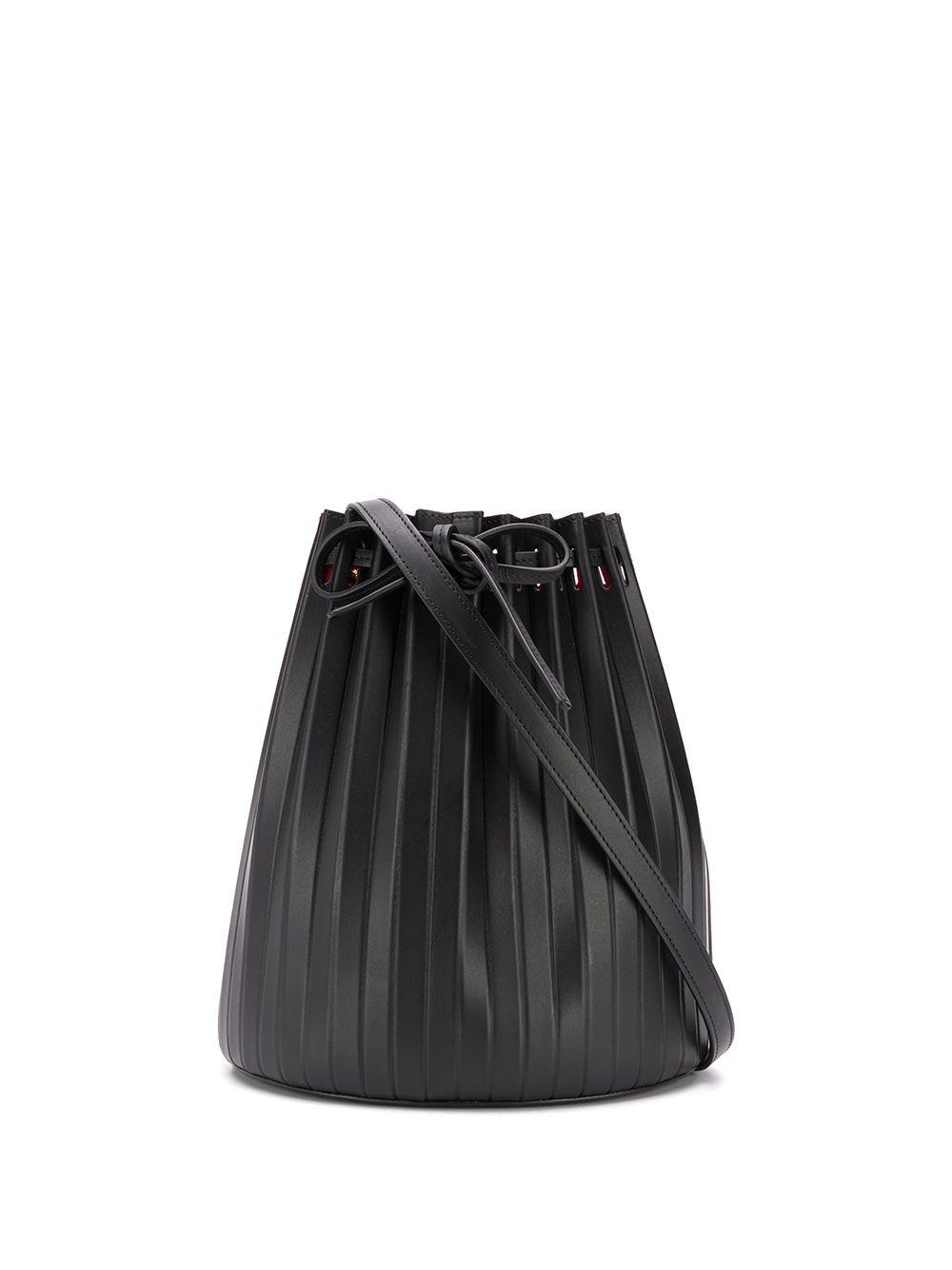 Pleated Bucket Leather Bag